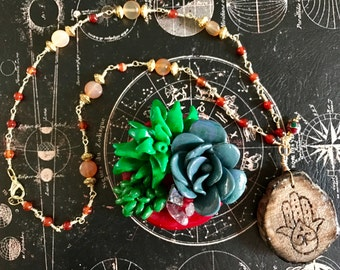Gemstone necklaces with wooden pendants