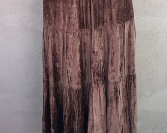 Chocolate Brown Velvet Tiered Skirt