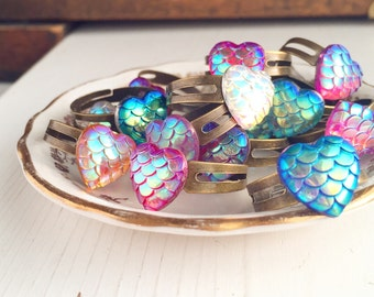 10 Rings Mermaids Tail Heart Shaped Dragon Scale / Wholesale Adjustable Wedding Bridesmaids Favors Boho Bridal Party Gifts Beach Boutique