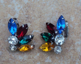 Blue, Red, Green, Yellow, Clear Rhinestones Multicolor Silvertone Vintage Clip-On Earrings
