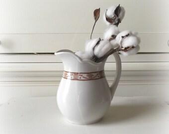 vintage white ironstone pitcher farmhouse chic milk pitcher rustic farmhouse decor restaurant ware