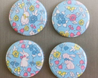 "Spring Easter Bunny Rabbit,  sealed fabric button magnet set of 4 - 1.5"" (1 1/2 inch, 38mm)"