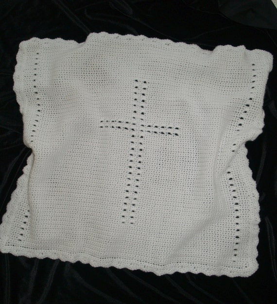 "Crochet Baby First Cross Blanket 25"" x 27"" (63 x 68 cm) approximately"
