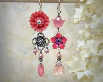 Pink Asymmetrical Earrings Coral Pink Flower Earrings Floral Earrings Pink Wedding Sterling Silver Melon Garden Wedding Feminine Girly