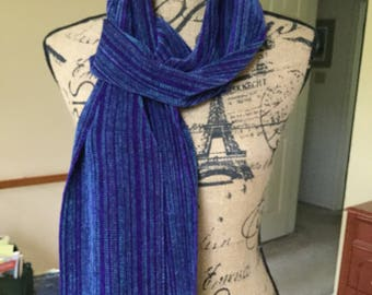 Handwoven Rayon Chenille Scarf in Teal, Blue, and Purple