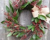 "Rosehip and bay leaf wreath , 12"" wide"
