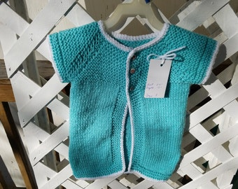 Hand Knitted Toddlers Childs Girls Button Short Sleeve Cardigan