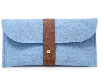Pencil case made of light blue wool felt