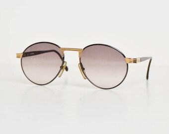 Vintage 80s Hugo Boss CARRERA Sunglasses Round Lens Black and Gold 5154