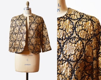 Vintage 60s Metallic Raised Jacquard JACKET / 1960s Black and Gold Brocade Tapestry Print Jacket S M