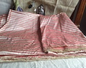 Vintage French Silk Panel, Pink Golden & Cream Stripes / 3.2 yd Home Decor Furnishings