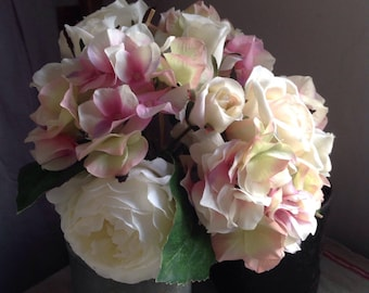 Vintage Bridal Bouquet/ Faux Flowers, Pink & White Roses Peonies Hydrangeas / Vintage Wedding Something Old