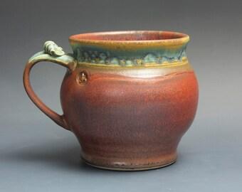 Pottery beer mug,  ceramic mug, extra large stoneware stein, iron red 26 oz 3722