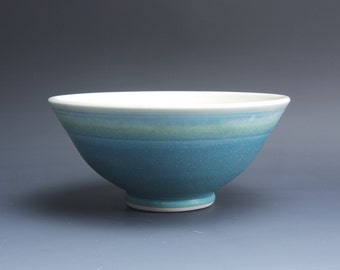 Handmade porcelain turquoise soup cereal rice ice cream bowl 30 oz. 3792