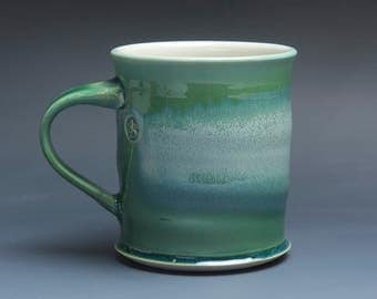 Pottery coffee mug, ceramic mug, stoneware tea cup jade green 16 oz 3893