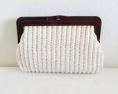 50% OFF SALE Vintage 1960's Creme Straw Handbag Purse / Lucite Style Handle Walborg Clutch Bag