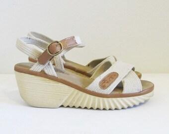 ON SALE NOW Vintage 1970's Platform Heels / Size 6.5 Heeled Bohemian Hippie Wedge Heeled Sandals Shoes