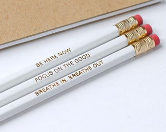 Pencils of Positivity – Pencil Set – Positive Pencils – Foil Stamped Pencils – Stationery Lover Gift