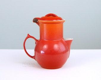 Rare Descoware Belgium Flame Orange Small Cast Iron Coffee Pot with Lid