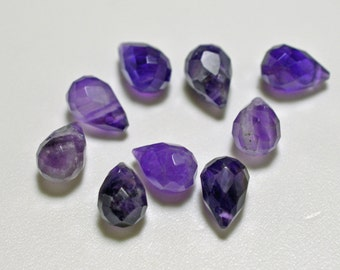 Amethyst faceted teardrops, top drilled, 7x10mm - #2137