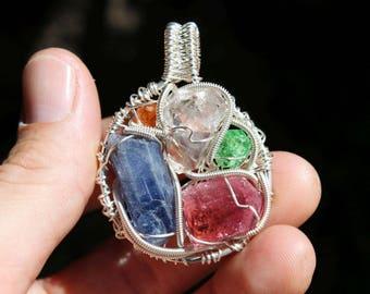 Tsavorite Garnet, Red Tourmaline, Tanzanite, Orange Garnet and Herkimer Diamond Crystal Pendant wrapped in Sterling Silver