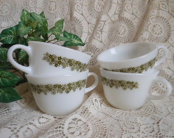 4 Green Spring Blossom Crazy Daisy Glass Pyrex Corning Tea Cups Vintage at Quilted Nest