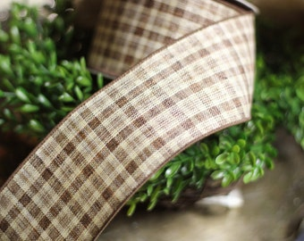 10 Yards Brown Plaid Wired Ribbon