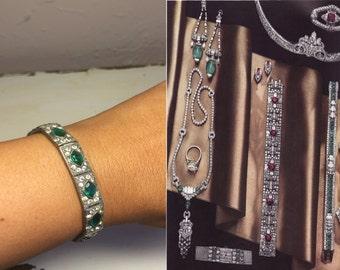Jovial Jewelry My Dear - Vintage 1930s Art Deco Green & Clear Paste Bracelet Chrome