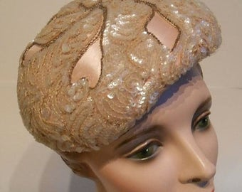 60% OFF SALE Sparkling Pink Follies - Early 1950s Evelyn Varon Pale Pink Satin & Sequin Beret Hat