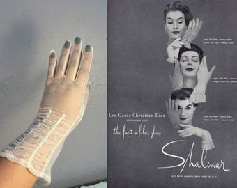 Beige is Not So Boring - Vintage 1950s Sheer Ivory Nylon Mid Fore Arm Length Gloves - 7