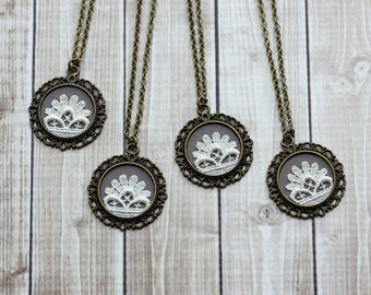 Gift Set of 4 Bridesmaid Necklaces (5, 6, 7, 8+ available), Small Gray, Ivory Vintage Lace Pendants, Flowers, Art Nouveau, Art Deco Wedding