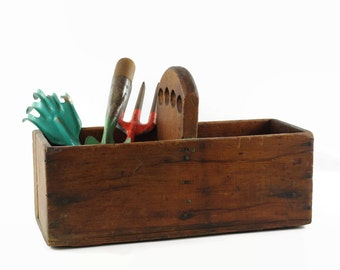 Vintage Wood Tool Tote, Wooden Tool Box, Rustic Farmhouse Decor, Garden Tool Tote