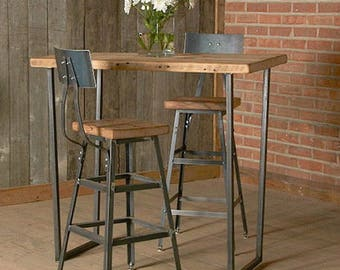 "Bar Height Reclaimed Wood Stool with steel back (1) 25"" counter height stool with back.  Your choice of wood finish and stool height."