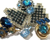 Blue Rhinestone Jewelry for Parts or Repair VINTAGE Assorted Ten (10) RHINESTONE Earrings Wedding Jewelry Supplies Vintage Jewelry (R71)