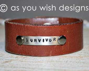 SURVIVOR Upcycle Leather Cuff Up-cycled Leather Cuff Bracelet From Belt Upcycle Upcycled