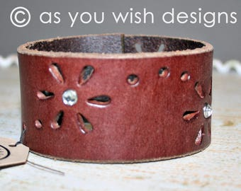 Floral Rhinestone  Up-cycle Leather Cuff Up-cycled Leather Cuff Bracelet From Belt Upcycle Upcycled GREAT GRADUATION Gift