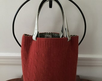 Burnt Orange Cable Felted Tote Bag