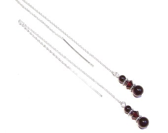 Black Onyx & Dark Red Swarovski Crystal Sterling Silver Pull Through Earrings 176mm