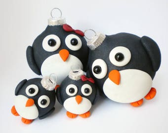 Penguin Family  Ornaments / Set of FOUR