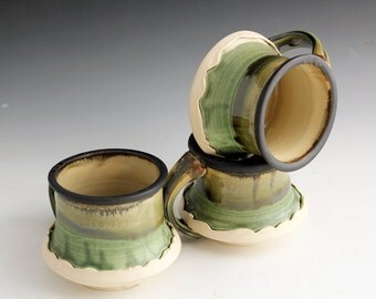 Set of 5 Green and Matte Black Mugs