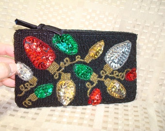 1986 CHRISTMAS Sequined and Beaded Festive Clutch Bag.