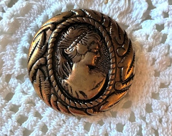 Bronze Cameo Button, Large Cameo Metalized Button, Vintage, 1960's, Large Cameo, 32mm or 1.25 inches, Metalized loop shank, Button Jewelry
