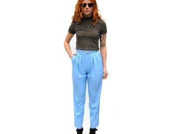 SALE!!!!!!!!! Light blue high waist high rise tapered trousers with yoke PETITE 1990s 90s VINTAGE