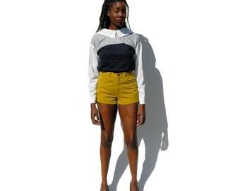 Olive green high waist high rise denim shorts 1990s 90s VINTAGE