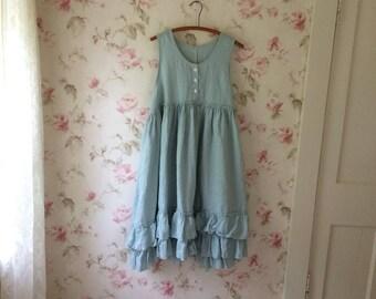 Washed Linen Pinafore Dress Romantic Ruffles Apron Sleeveless Linen Dress Lagenlook Ready To Ship