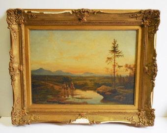 Vintage Oil Painting on wood Figures mountain landscape european Framed Kunsthandel