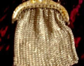 FREE U.S. Shipping Tiny Miniature Silver Mesh Deco Era Purse Rhinestoned Frame. Item #152 Jewelry/Purses