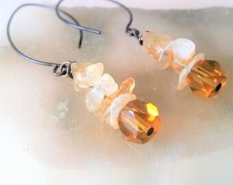 Raw Citrine Crystal Dangle Earrings