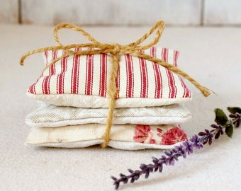 Red and Tan - Lavender Sachets - Red Ticking - Red Roses - Tan Damask - Lavender Sachet Set - Fragrance Gift