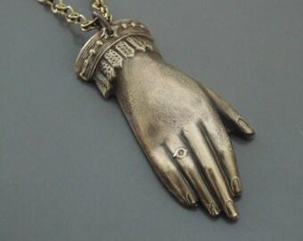 Vintage Necklace - Hand Necklace - Victorian Necklace - Bridal Necklace  - Brass necklace - handmade jewelry